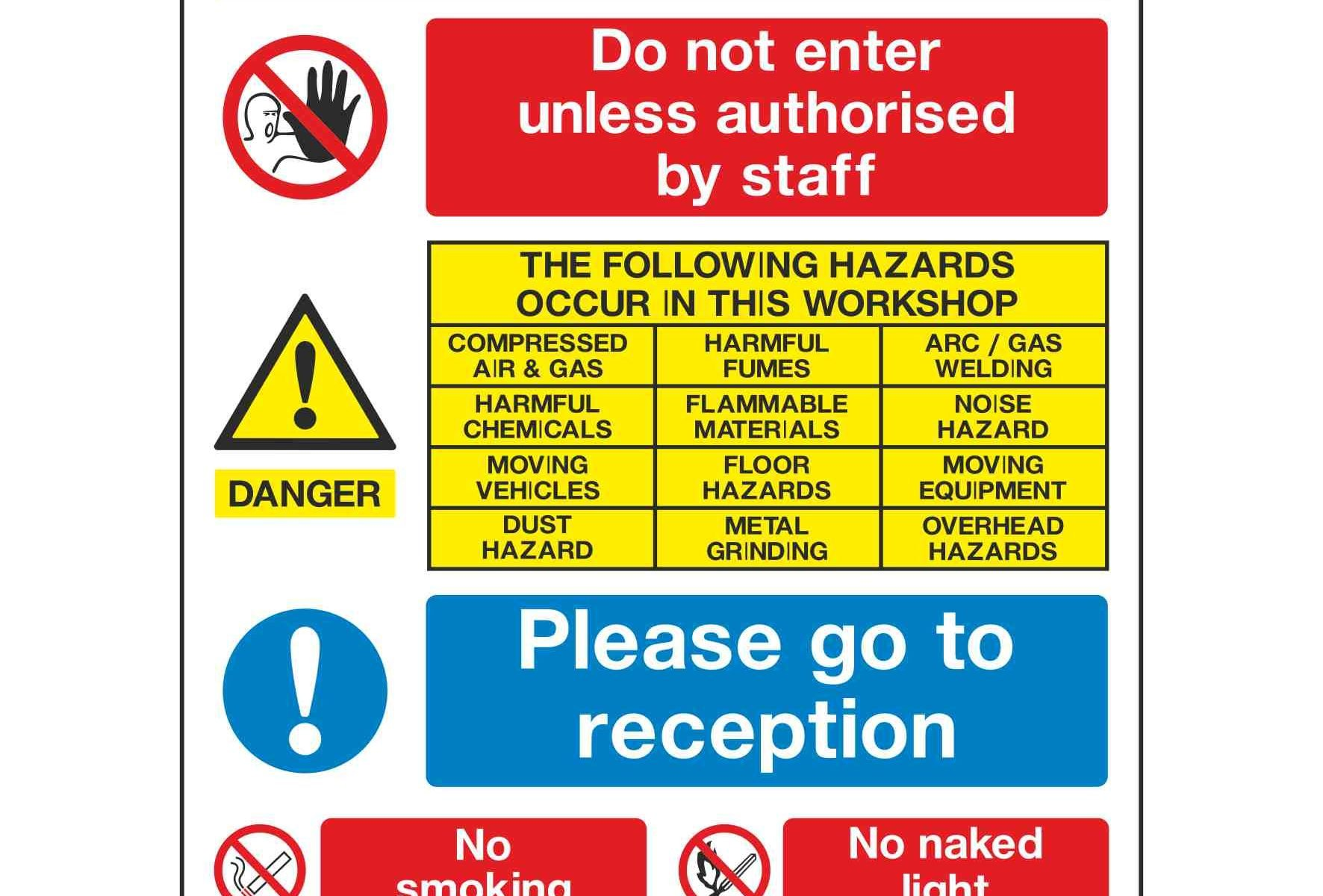ATTENTION ALL VISITORS! Do not enter unless authorised by staff THE FOLLOWING HAZARDS OCCUR IN THIS WORKSHOP