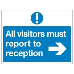 All visitors must report to reception (Arrow right)