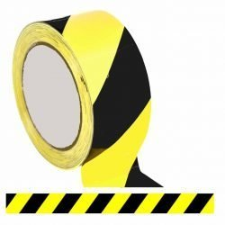 Black Yellow Floor Tape / Professional Heavy Use Vinyl Floor Tape (48mm x 33m)