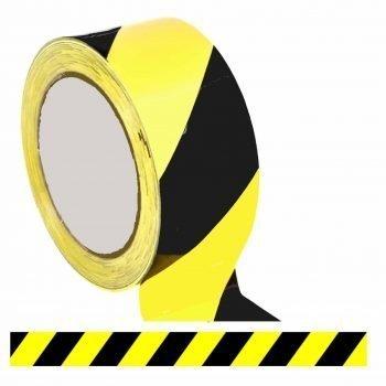 Black Yellow Floor Tape / Professional Heavy Use Vinyl Floor Tape (48mm x 33m)