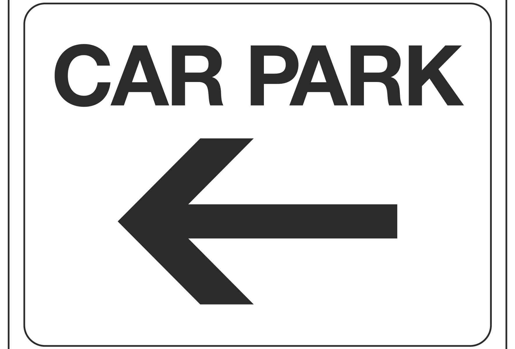 CAR PARK (Arrow pointing left)
