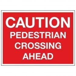 CAUTION PEDESTRIAN CROSSING AHEAD