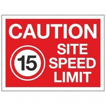 CAUTION SITE SPEED LIMIT 15 MPH