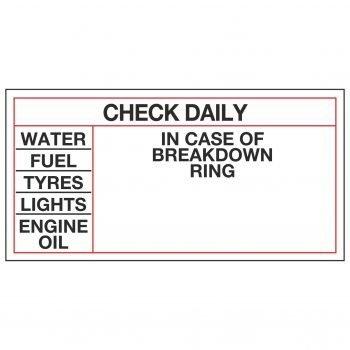 CHECK DAILY - IN CASE OF BREAKDOWN RING