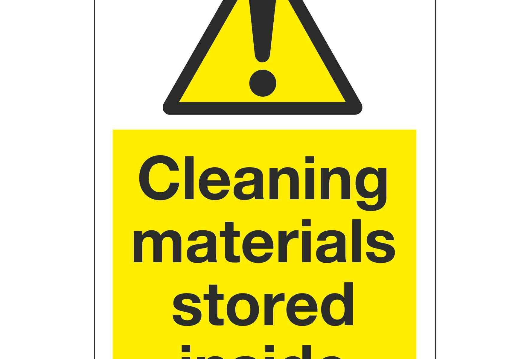 Cleaning materials stored inside
