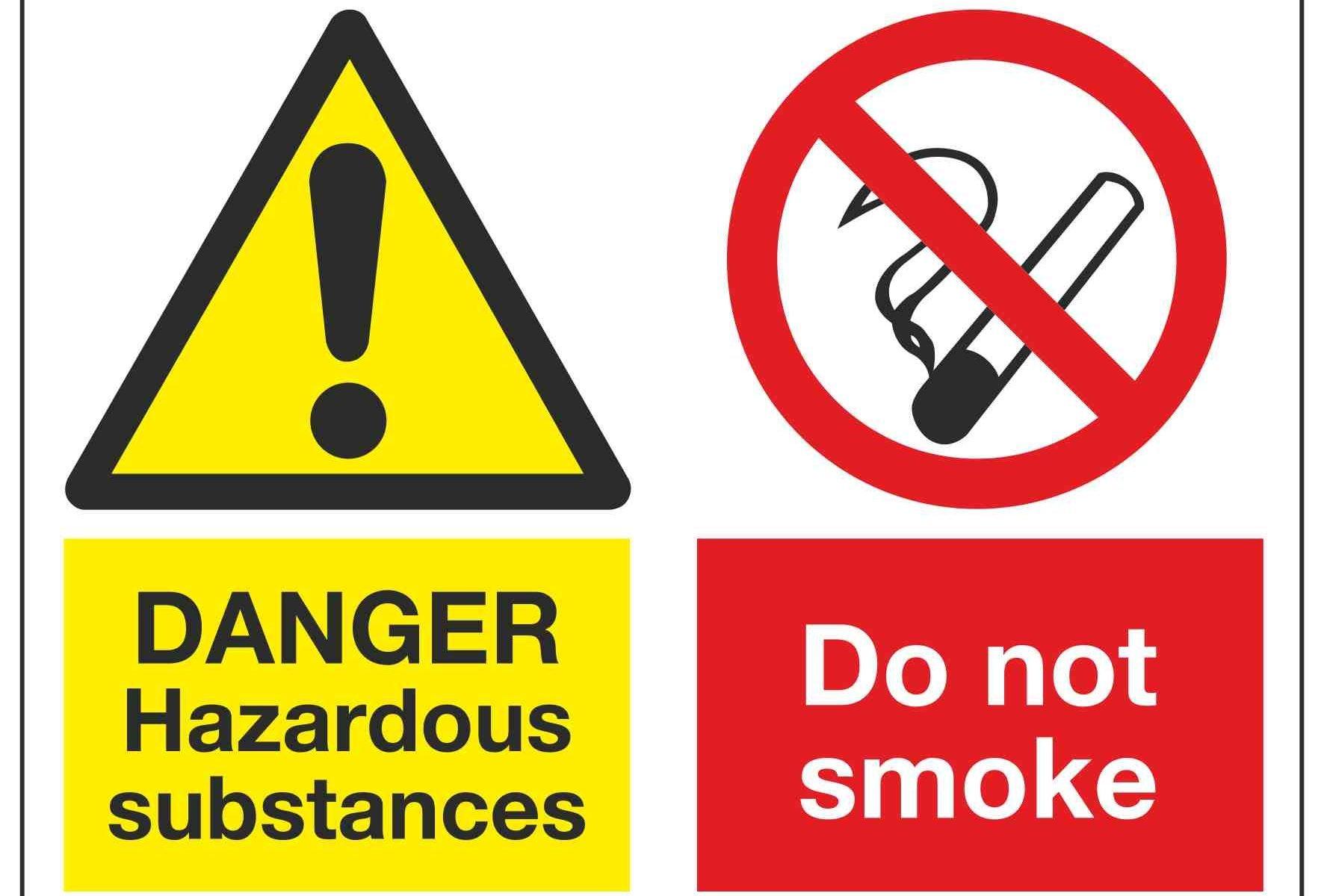 DANGER Hazardous substances / Do not smoke