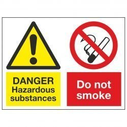 DANGER Hazardous substances / Do not smoke