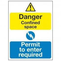 Danger Confined space Permit to enter required