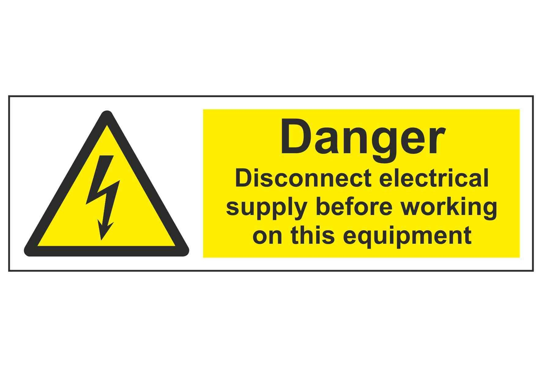 Danger Disconnect electrical supply before working on this equipment