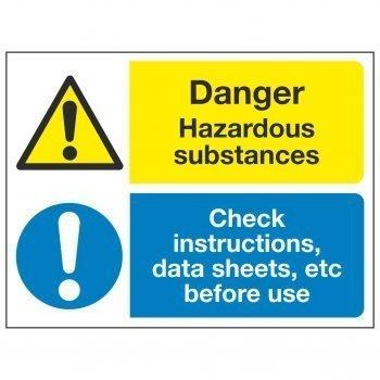 Danger Hazardous substances Check instructions, data sheets, etc before use