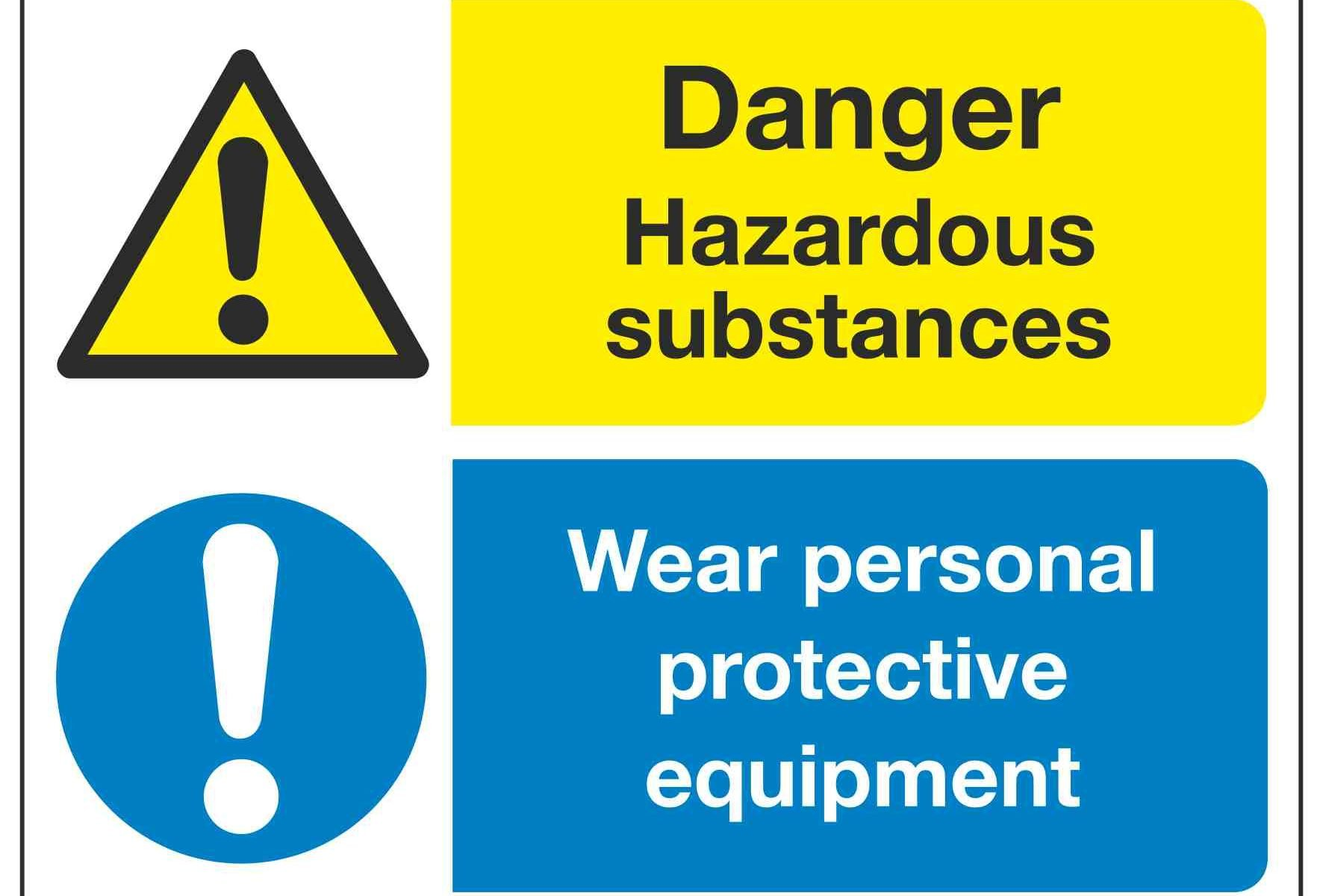 Danger Hazardous substances Wear personal protective equipment