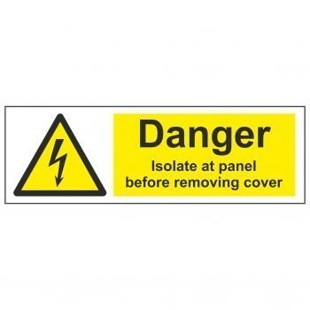 Danger Isolate at panel before removing cover