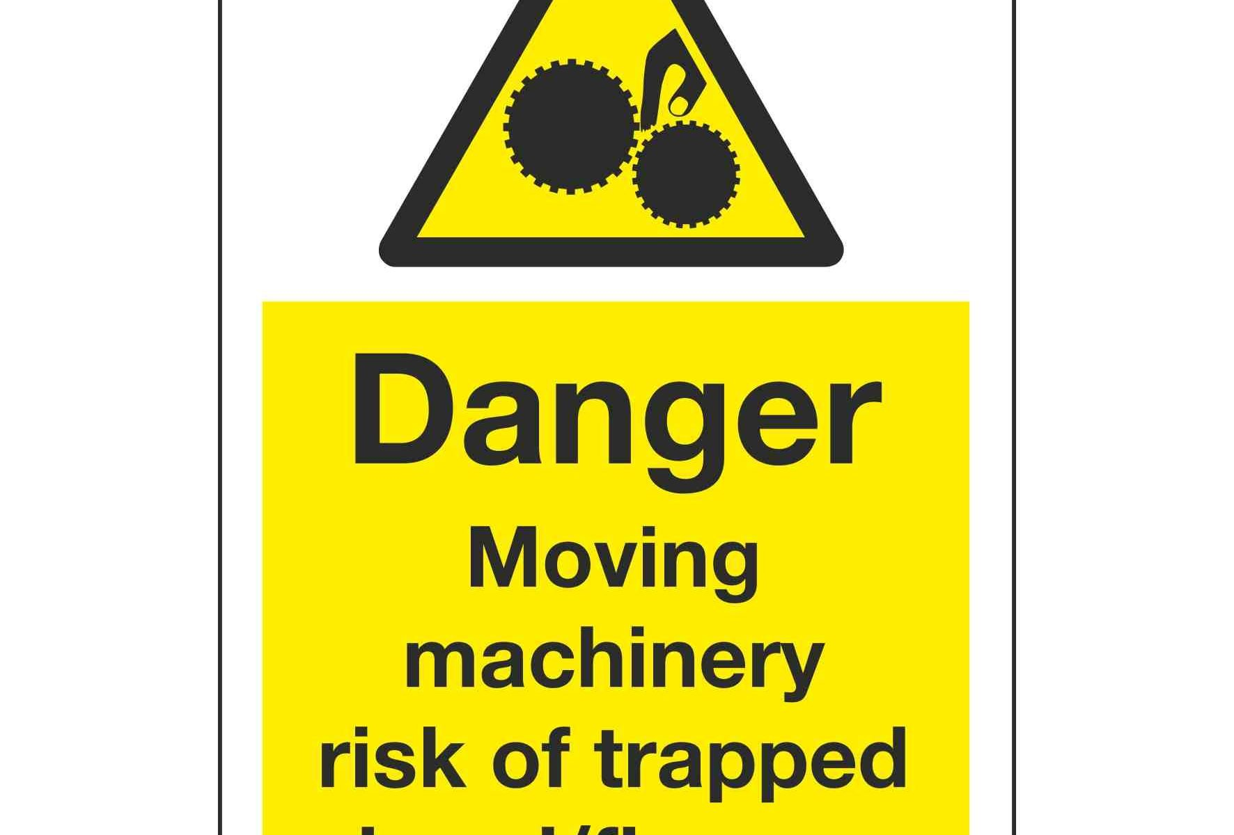 Danger Moving machinery risk of trapped hand fingers