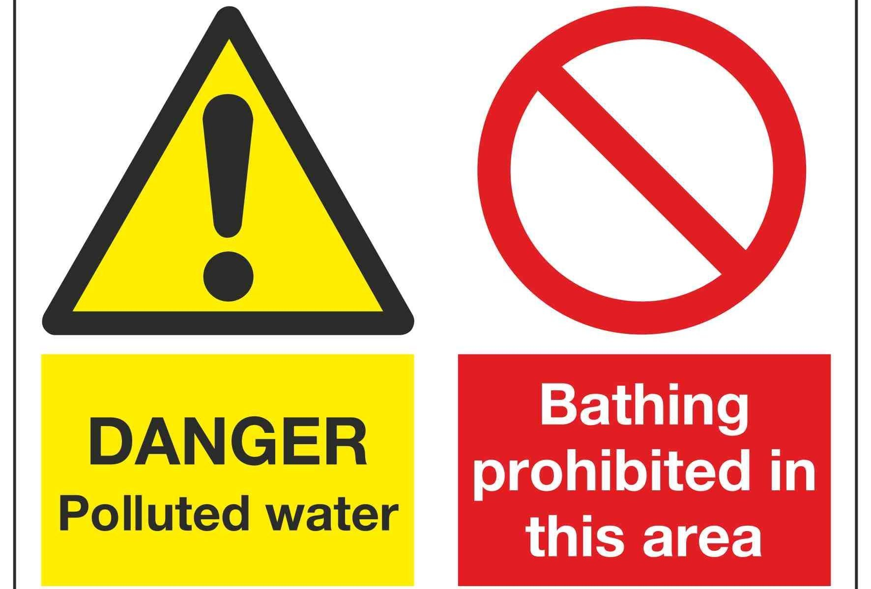 DANGER Polluted water / Bathing prohibited in this area