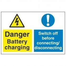 Danger battery charging Switch off before connecting