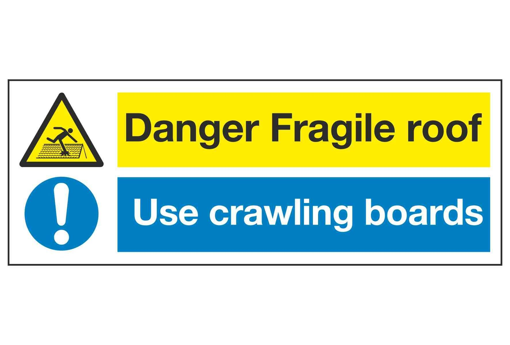 Danger Fragile Roof Use Crawling Boards Multi Purpose