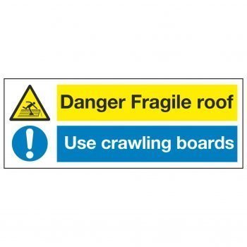Danger fragile roof Use crawling boards