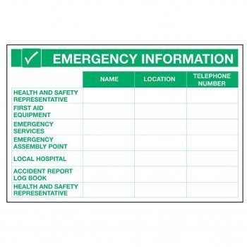 EMERGENCY INFORMATION NAME LOCATION / TELEPHONE NUMBER