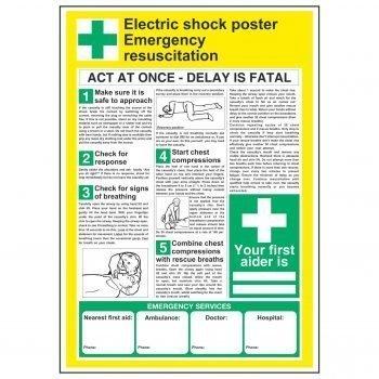Electric shock poster Emergency resuscitation