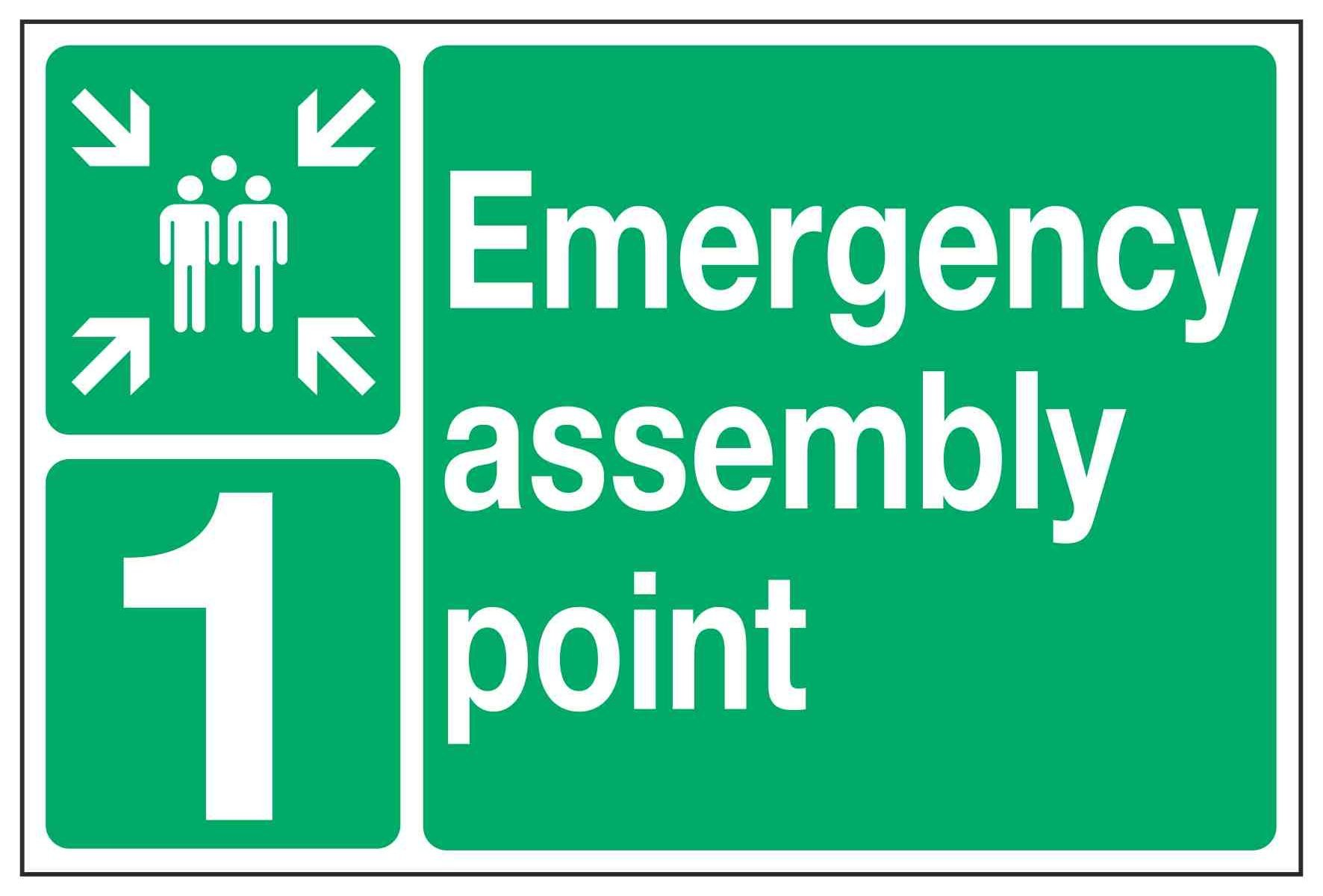 Emergency assembly point (+ Optional number or letter)