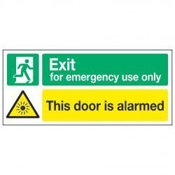 Exit for emergency use only / This door is alarmed