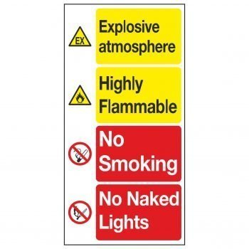 Explosive atmosphere / Highly Flammable / No Smoking / No Naked Lights