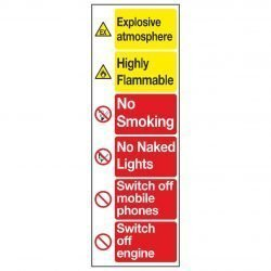 Explosive atmosphere / Highly Flammable / No Smoking / No Naked Lights / Switch off mobile phones / Switch off engine
