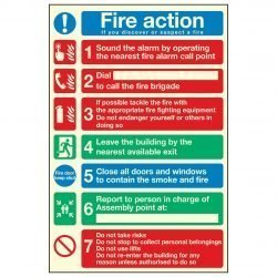 Fire action 1 Sound the alarm by operating the nearest fire alarm call point 2 Dial to call the fire brigade 3 If possible tackle the fire with the appropriate fire fighting equipment PL