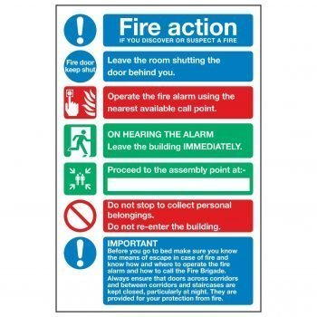 Fire action ON DISCOVERING A FIRE / Residential / Warden Flats