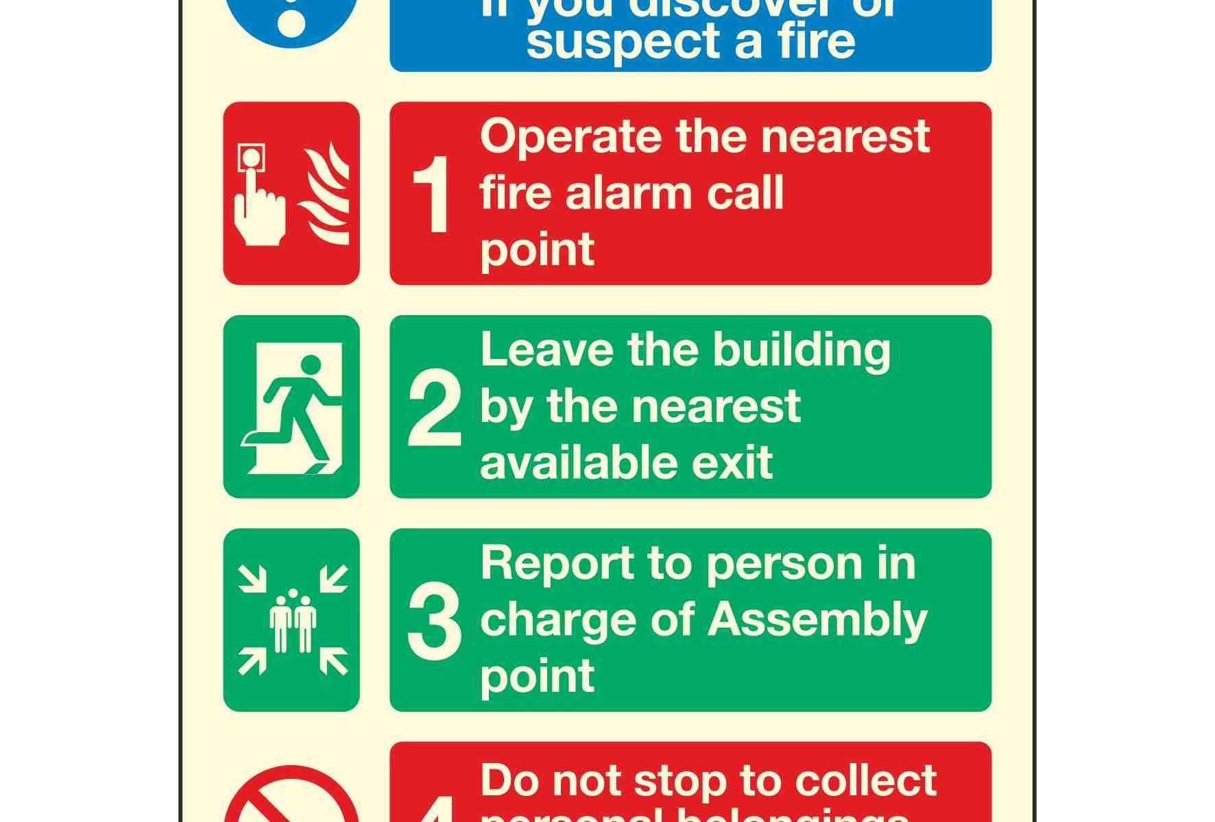 Fire action If you discover or suspect a fire 1 Operate the nearest fire alarm call point 2 Leave the building by the nearest available exit