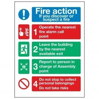 Fire action If you discover or suspect a fire / Operate the nearest fire alarm call point
