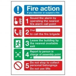 Fire action If you discover or suspect a fire / Sound the alarm by operating the nearest fire alarm call point