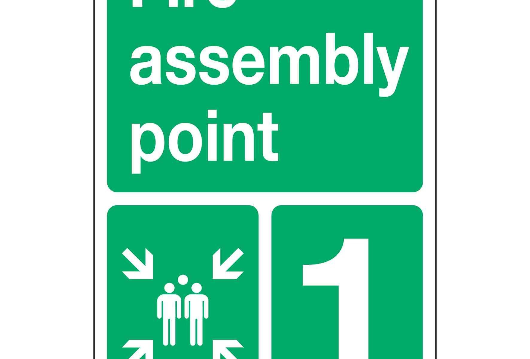 Fire assembly point (Metal + Optional number or letter)