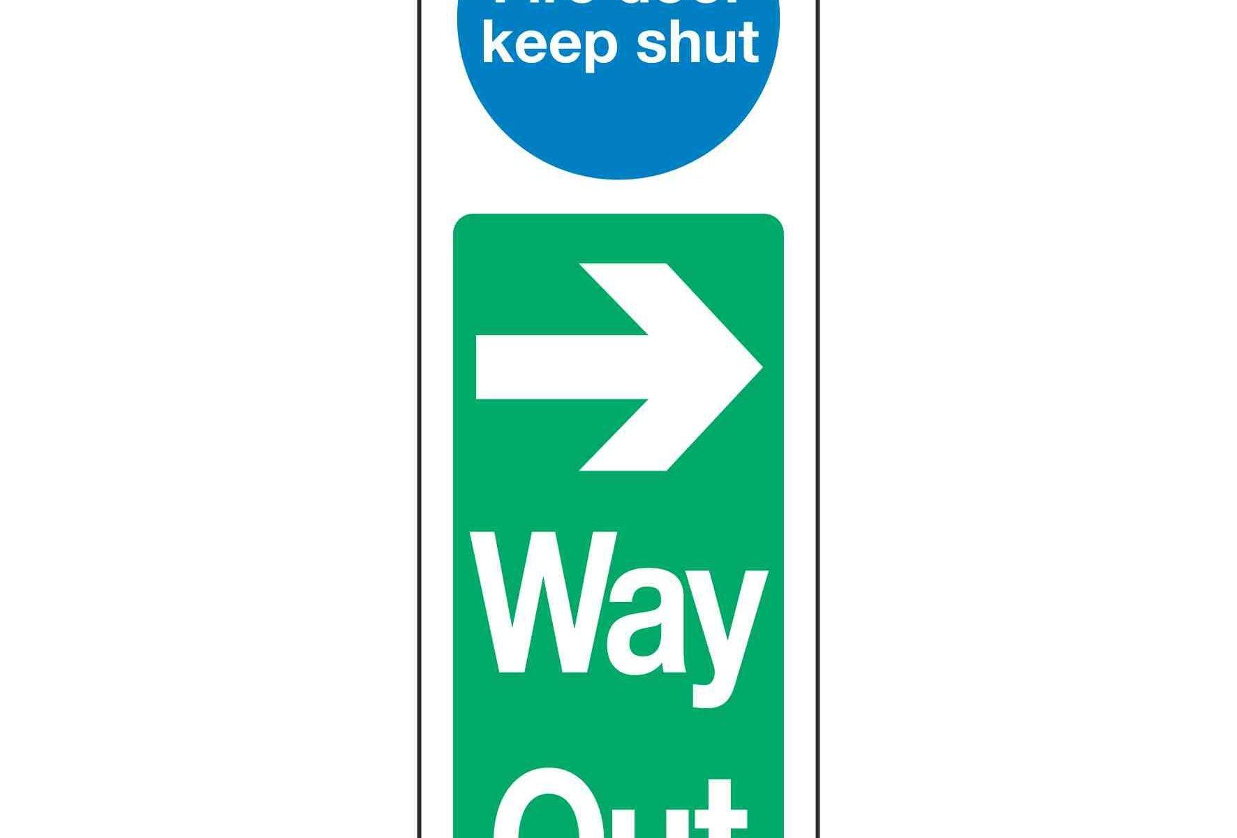 Fire door keep shut Right Arrow Way Out