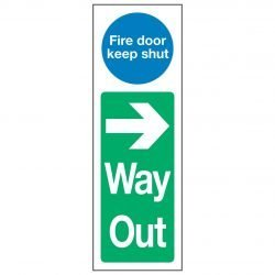 Fire door keep shut Right Arrow Way Out
