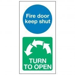 Fire door keep shut TURN TO OPEN Anti-clockwise