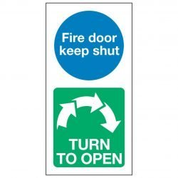 Fire door keep shut / TURN TO OPEN Clockwise