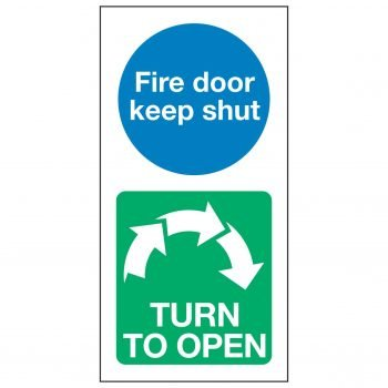 Fire door keep shut / TURN TO OPEN Clockwise