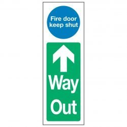 Fire door keep shut Up Arrow Way Out