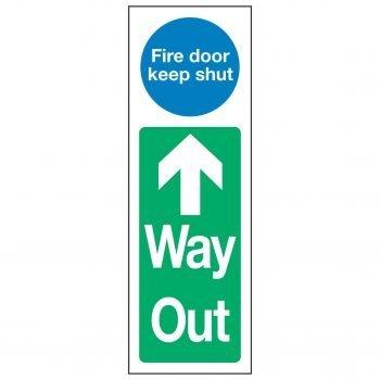 Fire door keep shut Up Arrow Way Out