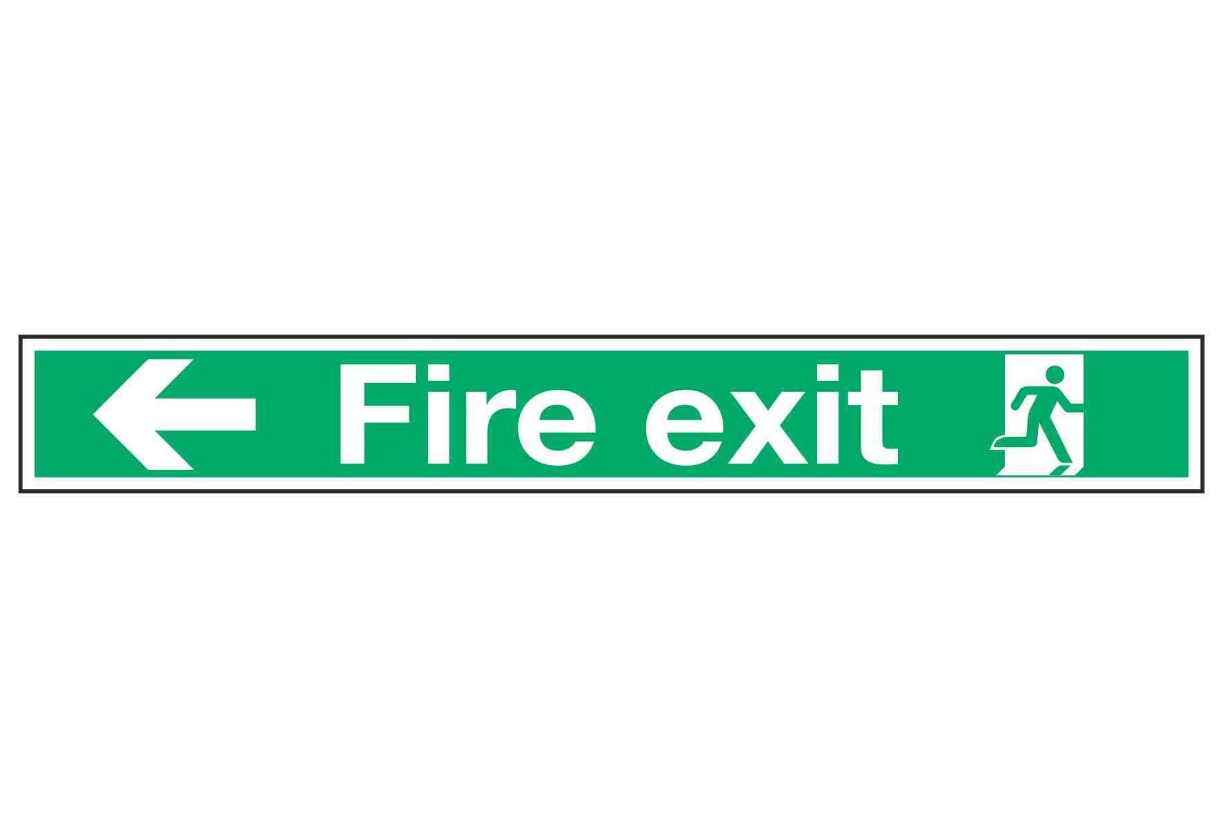 Fire exit / Arrow Left 750mm x 150mm