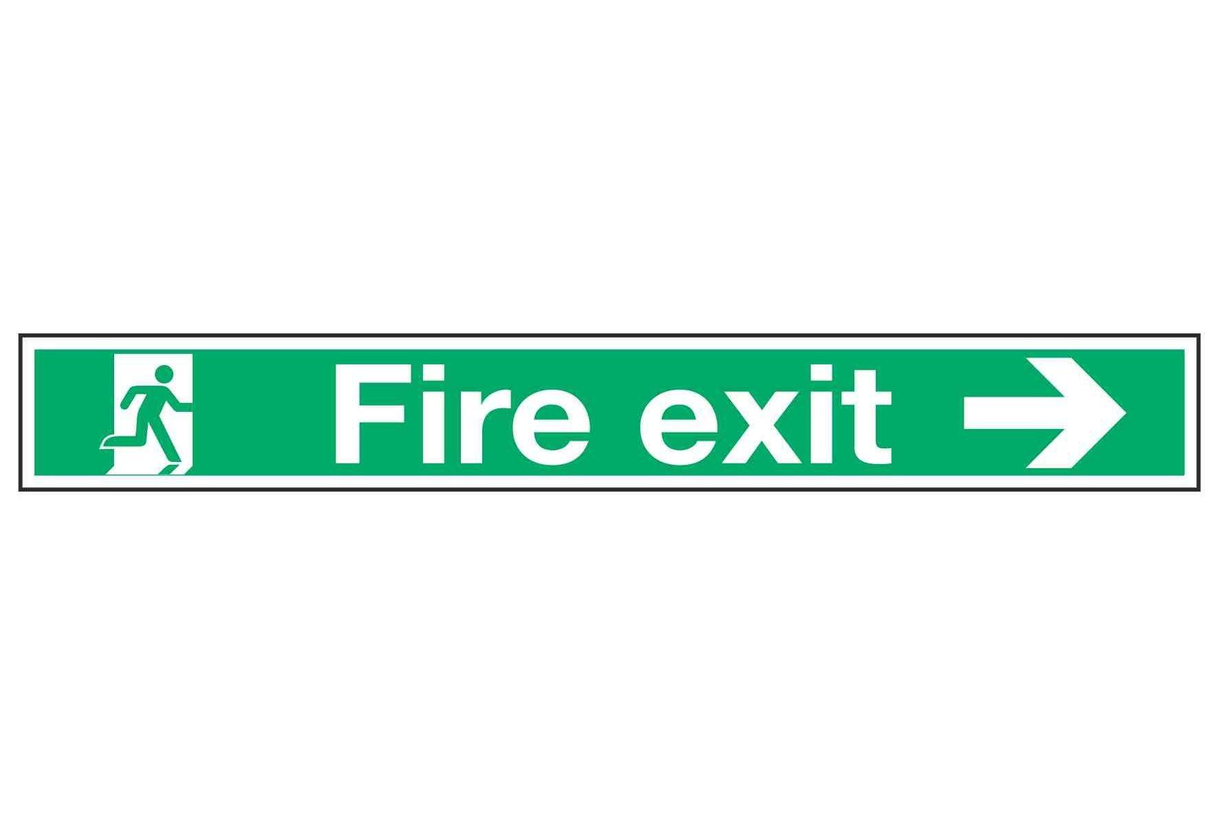 Fire exit / Arrow Right 750mm x 150mm