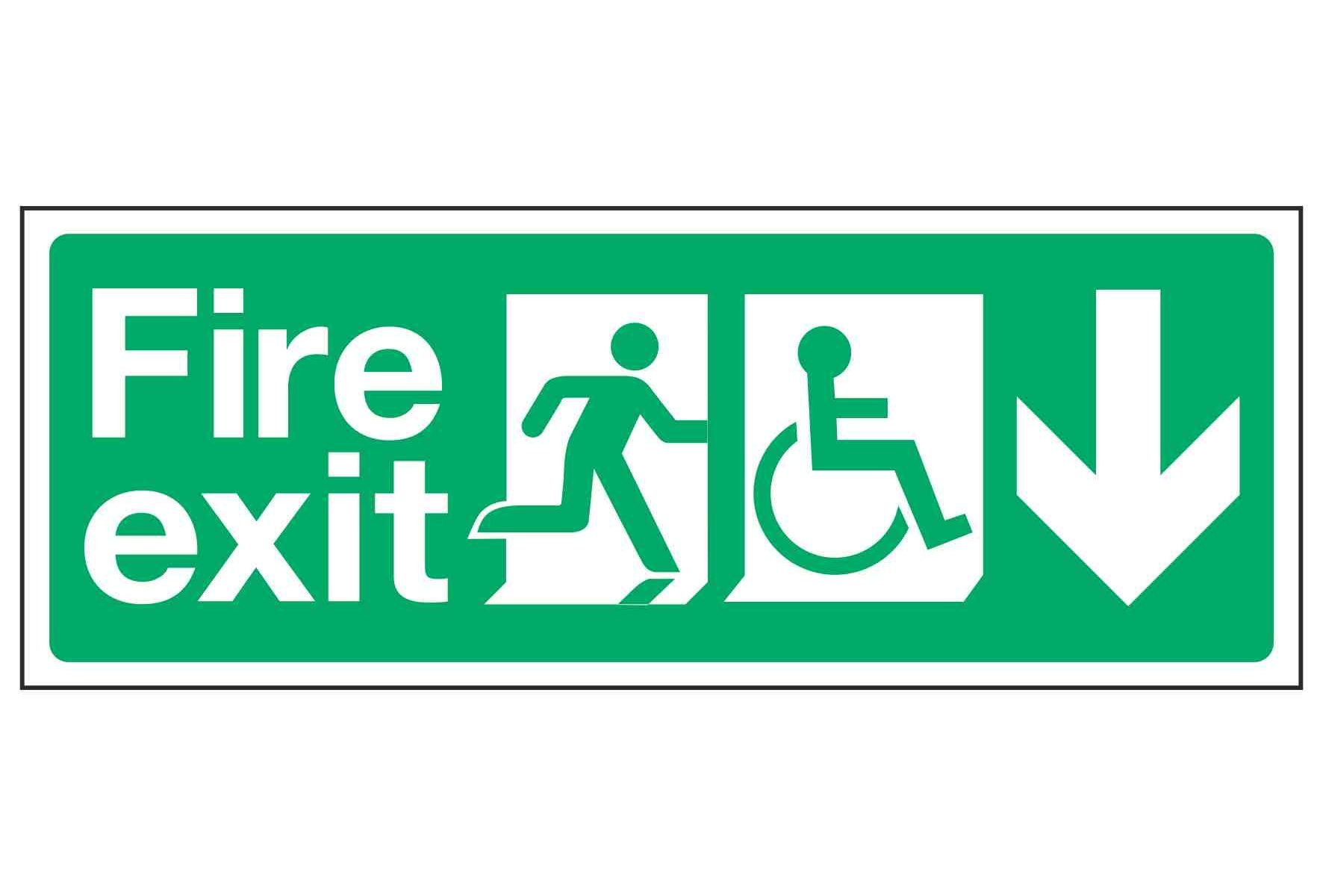 Fire exit / Disabled (Arrow down)