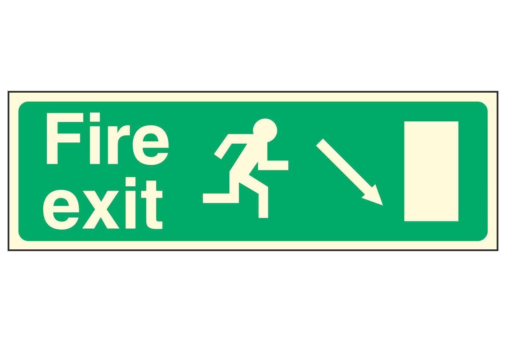Fire exit / Running Man Right / Arrow Down Right - EEC 92/58 PL