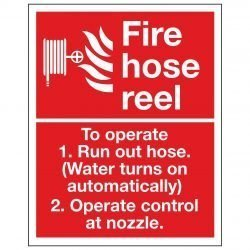Fire hose reel To operate 1. Run out hose. (Water turns on automatically) 2. Operate control at nozzle.