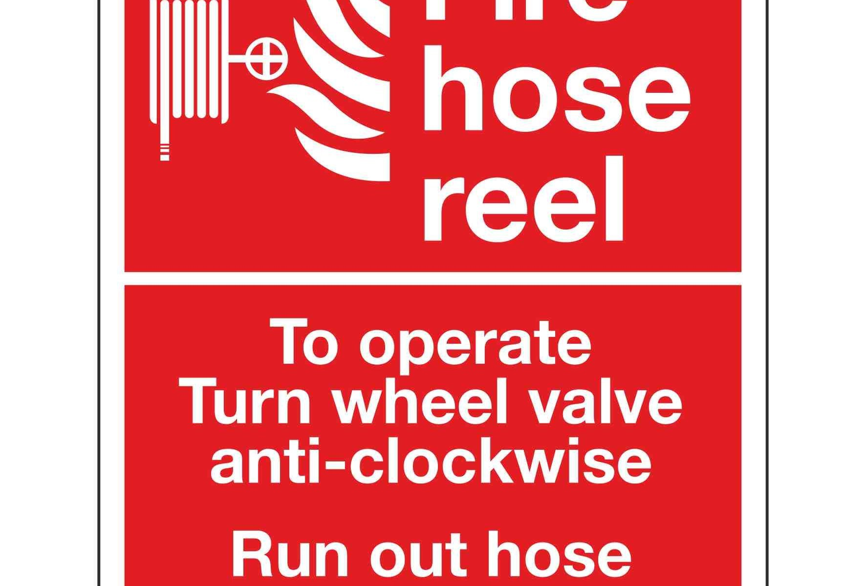 Fire hose reel To operate Turn wheel valve anti-clockwise Run out hose Turn on at nozzle