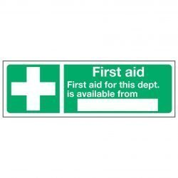 First aid First aid for this dept. is available from —