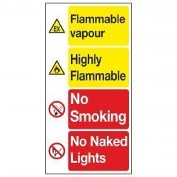 Flammable vapour / Highly Flammable / No Smoking / No Naked Lights