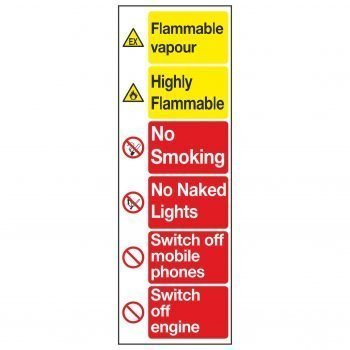 Flammable vapour / Highly Flammable / No Smoking / No Naked Lights / Switch off mobile phones / Switch off engine