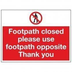 Footpath closed please use footpath opposite Thank you